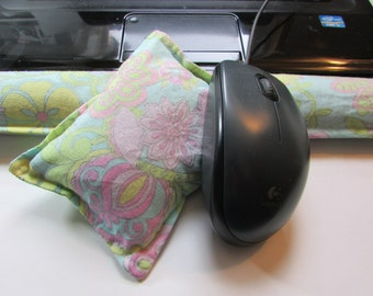Hot/ Cold Aromatherapy Keyboard and Mouse Wrist Supports Pastel Flowers