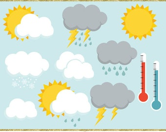 Weather clip art images,  weather clipart, instant download