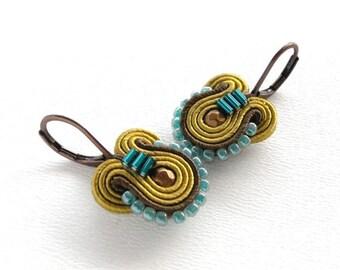 Mustard Earrings Mustard and Teal Earrings Mustard Drop Earrings Small Drop Earrings Small Dangle Earrings Soutache Earrings Mustard Dangle