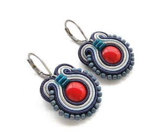 Blue and Red Earrings Blue Drop Earrings Soutache Earrings Red and Blue Earings Blue Dangle Earrings Small Drop Earrings Red Drop Earrings