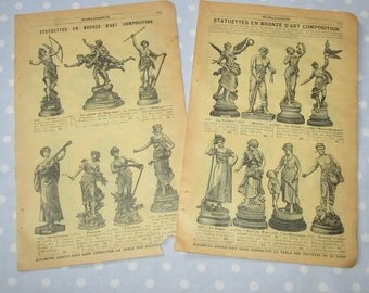Antique French Catalog Pages Yellow Aged Paper Ephemera Statue Diane Double Sided - Vintage (lot J)