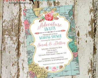 Adventure awaits wedding shower invitation rehearsal bridal engagement world rustic chic map rustic chic flowers 370 retirement couples