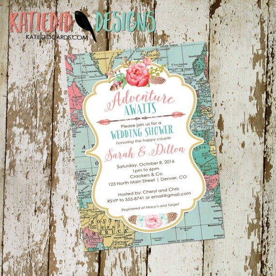 Traveling from Miss to Mrs | floral chic invite | travel theme wedding invitation | Couples Bridal | stock the bar | 370 Katiedid Designs
