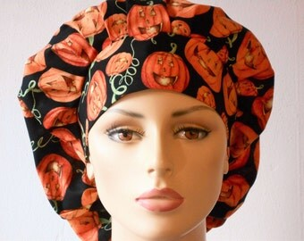 Halloween Gholish Nights Bouffant Pumpkins All Over Scrub Hat  With A Matching Headband Made in USA