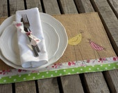 Burlap Easter placemats, Hen and chick place mats, burlap place mats, table mat, easter table linen, easter placemats, bright, rustic