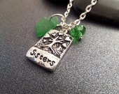 Sisters Necklace with Green Scottish Sea Glass Heart, Scotland Jewelry, Gift for Sister