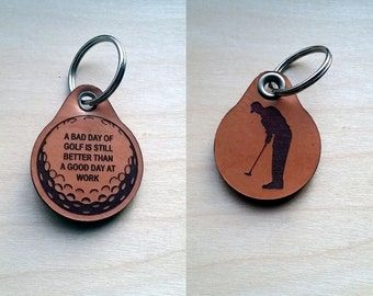 Laser engraved Golfing Leather Key Fob