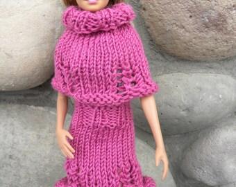 Jocelyn Barbie Set Knitting PATTERN, Doll Clothing, in Sport Weight Yarn, Barbies Dress, Knit Skirt, Skirts, Poncho, Dolls Fashion Clothing