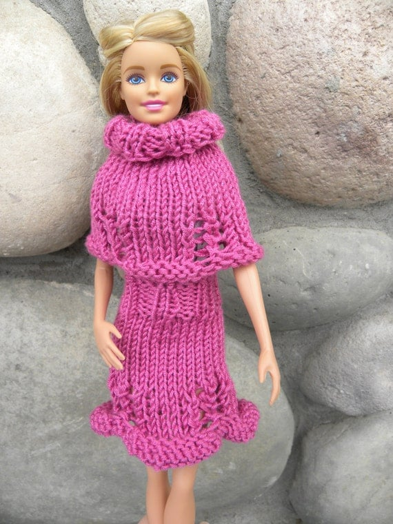 Knitting Pattern For Dolls Poncho : Jocelyn Barbie Set Knitting PATTERN Doll Clothing in Sport