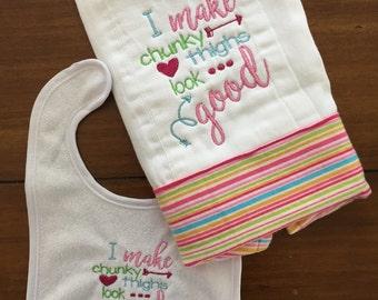 Burp cloth and bib, Burp cloth, baby girl burp cloth,embroidered burp cloth, funny burp cloth
