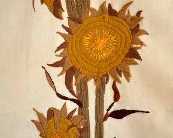 Vintage Sunflower Crewel Embroidery Large Wall Hanging