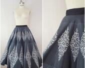 Vintage 1950s Circle Skirt / Diamond Border Print / Novelty Print Skirt / Cotton Skirt / XS