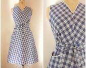 Vintage 1950s Wrap Dress / Blue and White Checks / Picnic Dress / Summer Dress / Adjustable sizing