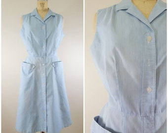 Vintage 1960s Shirtwaist / Sleeveless Shirtwaist / Summer Dress / Medium