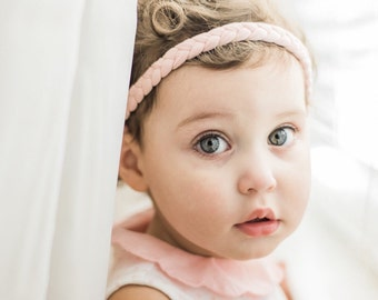 Pick Color | Braided Baby Headwrap - Blush Baby Headband - Braided Headband - Womens Headband - Boho Headband - Workout Headband - Hair Bow