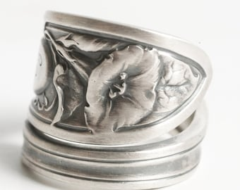 Morning Glory Ring, Sterling Silver Spoon Ring, Art Nouveau Ring Floral Ring, Wallace Flower Ring, Antique Silver Ring, Adjustable Ring 6138