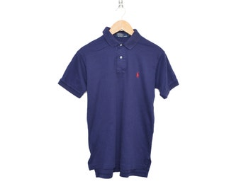 Vintage 90's POLO by Ralph Lauren Dark Blue 100% Cotton 2 Button Up Short Sleeve Collared Shirt, Made in USA