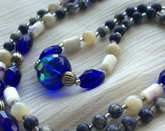 Blue Faced Crystal, Glass and Gemstone Silver Necklace