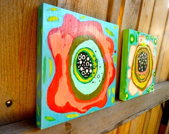 flower paintings, two 8 x 8 x .75 original painting, painting of flowers, art landscape