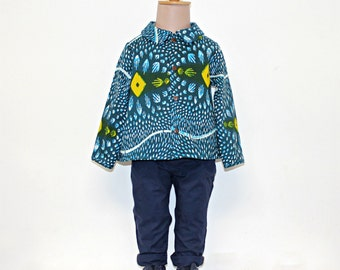 African print blue and yellow diamond baby boy shirt