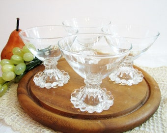 """Anchor Hocking BERWICK Boopie Footed Martini, Cocktail Glasses, Set of 4 ... Clear Candlewick 3 1/2"""" 5.5oz ... Vintage Barware"""