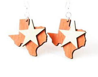 The lone Star State - Texas Laser Cut Wood Earrings