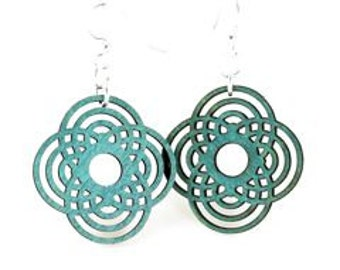 Interweaved Circle Flower Mini - Wood Earrings