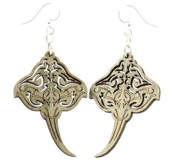 Sting Rays - Laser Cut Wood Earrings