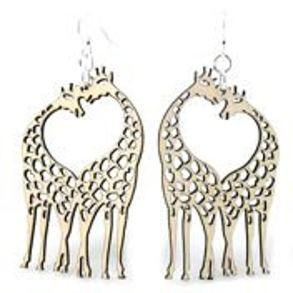 Giraffes with Heart in the middle - Wood Earrings