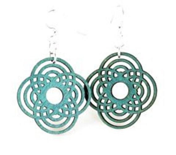 Interweaved Circle Flower Mini - Wood Earrings