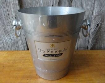 Vintage French ice bucket champagne Dry Monopole Reims bar deco circa 1970-80's / English Shop