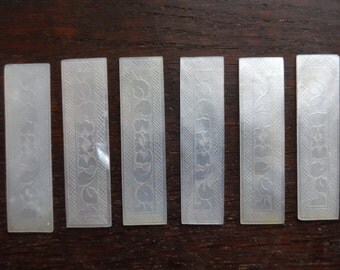 Antique Chinese mother of pearl gaming gambling tokens markers chips rectangular counters SOLD INDIVIDUALLY circa 1800-1900's / English Shop