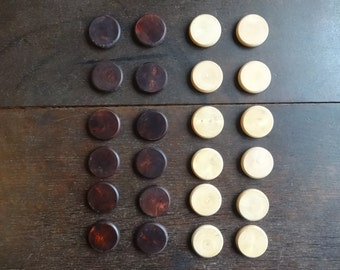 Vintage English Wooden Draughts Checkers Board Game Pieces Tokens Discs circa 1960-70's / English Shop