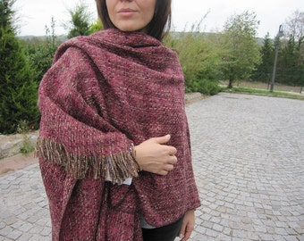 Pink beige- women's poncho,oversize- flannel blanket scarf-boucle wool wrap shawl/2015 winter FASHION-women-men-accessories gifts for her