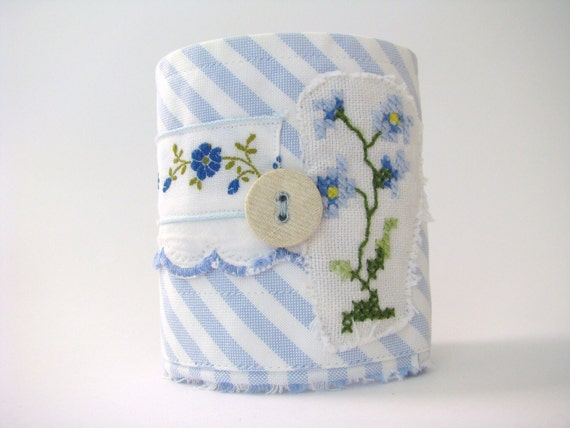 floral blue and white striped wrist cuff - floral green accents wrist cuff - blue fabric cuff - gift for her - springtime
