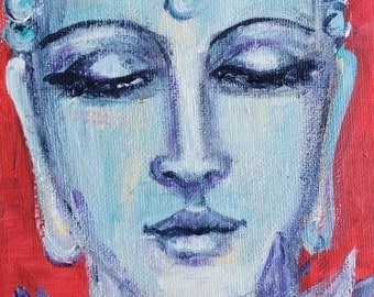 Blue Buddha  painting meditation art zen original art 7 x 5""