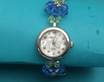 Sapphire Watch/Bracelet, Crystal Bead, Round Face, Silver Tone Watch, item no D102