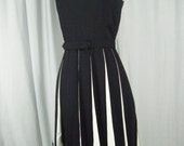 ALFRED WEBER Vtg 60s Black/White Sheath Dress w/Feathers-Bust 32/2XS-Reserved for Tammy