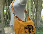 June On Sale 10% Off Golden canvas messenger bag for women, shoulder bag for girls, cool school bag, travel bag with custom screen print