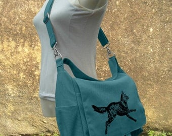 Teal green travel messenger bag with screen print, school bag for girls and boys, womens shoulder bag