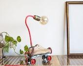 Steampunk table lighting, Vintage Lamp, Table Lamp, Handmade lighting, Roller skates lamp, Mason jar light, Cool designer lamp, On Sale lamp