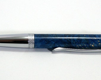 pen, ballpoint, box elder burl, 2 tone chrome