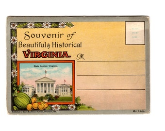 Vintage Virginia Postcard Souvenir Folder, Retro Road Trip Ephemera, Travel Journal, Scrapbook Supplies