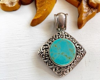 Vintage Sterling Turquoise Victorian Style Lattice Pendant Charm