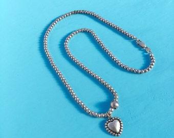 Vintage 925 Sterling Beaded Heart Pendant Necklace