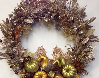Gold Thanksgiving Wreath-Fall Fireplace Wreath-Give Thanks Wall Hanging-Golden WEdding Anniversary Decoration-50th Wedding Anniversary