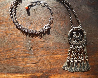 Sterling Silver Tribal Necklace with Antique Bird Pendant, Tassel Necklace, Autumn, Fall Jewelry, Upcycled Necklace, Rare