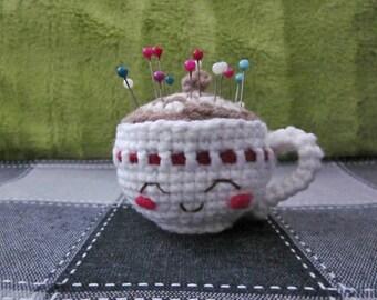 Coffee cup pin cushion