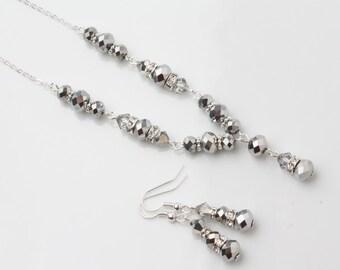 Crystal bridal necklace, crystal wedding necklace, silver crystal y necklace, Bridal Jewelry, Y Drop Necklace Wedding Jewelry, rhinestone