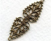 2 pc Heirloom Quality Ornate Oval Oxidized Brass Filigree Connector or bail 37x12mm X70B-VJS